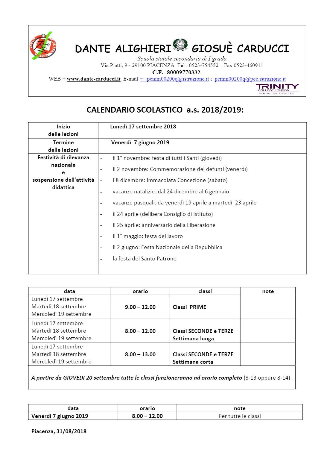 Calendario Esami Terza Media 2020.Scuola Secondaria Primo Grado Dante Carducci Piacenza